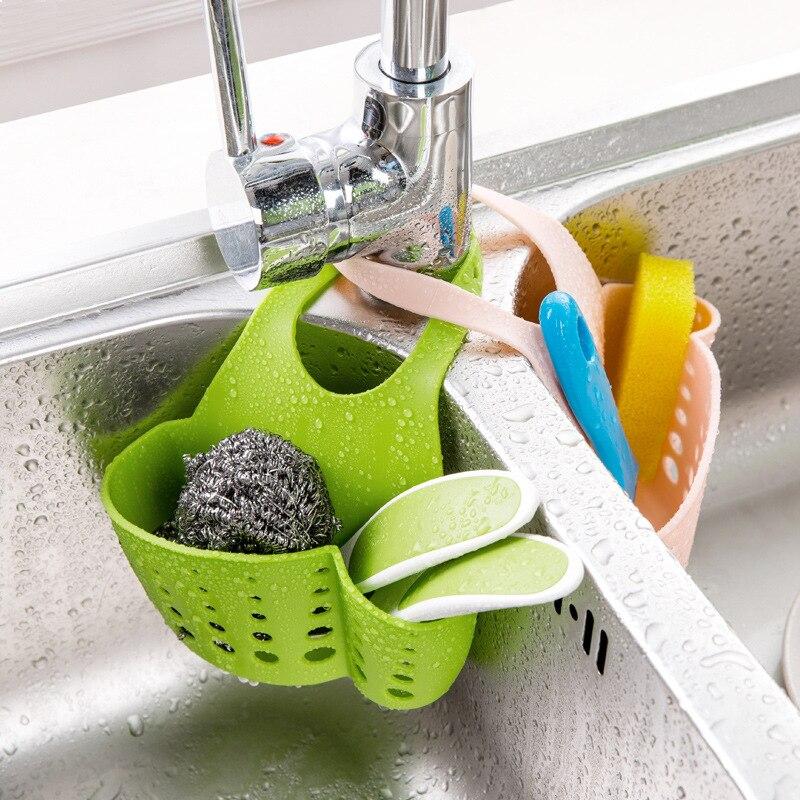 Kitchen Storage Basket Organizer Adjustable Bathroom Soap Sponge Brush Shelf Holder Sink Drain Rack Tap Hanging Bag Drain Basket