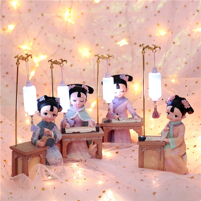 4 type Chinese tradition royal princess resin Hanfu princess doll toys Retro fashion toys bedroom Ornament Model Gift LED light