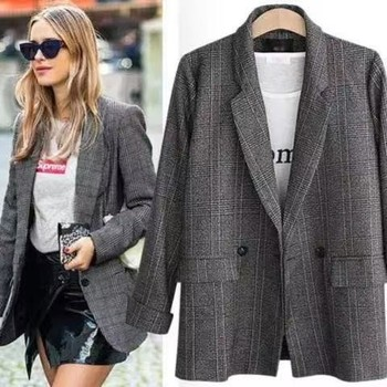 Fashion  Spring Autumn  Women's Blazers Plaid Double Breasted Pockets Formal Jackets Notched Outerwear Suit Gray Work Coat Slim 1