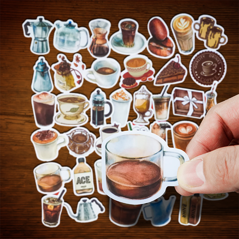 40pcs Vintage Rooftop Coffee Shop Mini Stickers Cafe Cup Scrapbooking Stickers For Journal Planner Crafts Diary Notebook