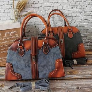 Image 3 - Retro Genuine Leather Handbag Luxury Women Hobo Bags Designer High Capacity Tote Ladies Shoulder Bag Female 2019 Bolsas Feminina