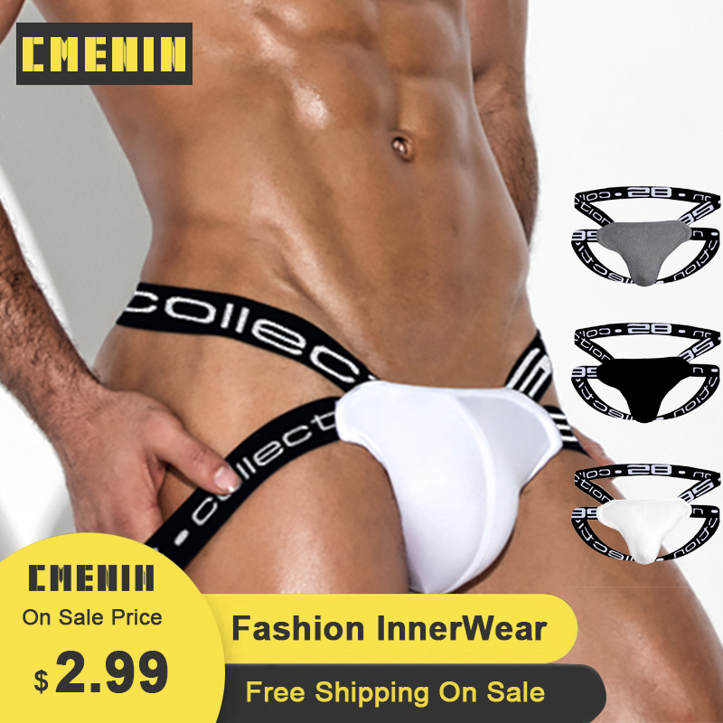 CMENIN Sexy Gay Men Underwear Thongs New Arrival Fashion Breathable Cotton Mens Jockstrap Underpants G String BS3501