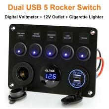 5 Gang Switch Panel 12V/24V Digital Voltmeter Rocker Switch Blue LED Light with Cigarette Lighter Dual USB for RV Car Boat Truck светильник globo florita gb 54984 6