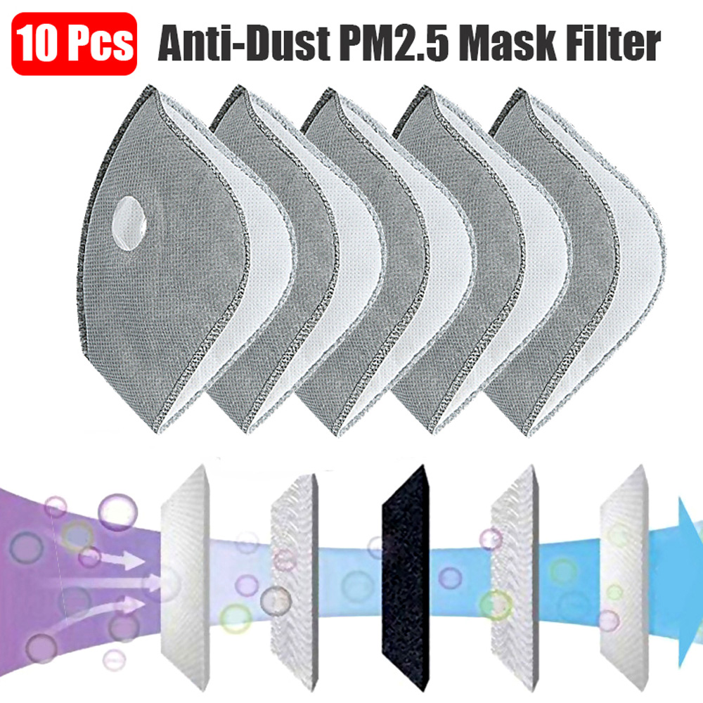 10 Pcs 5 Layers Removable Mask Liner Anti-dust PM2.5 Masks Cycling Anti-smog Mask Filter Activated Carbon Masks