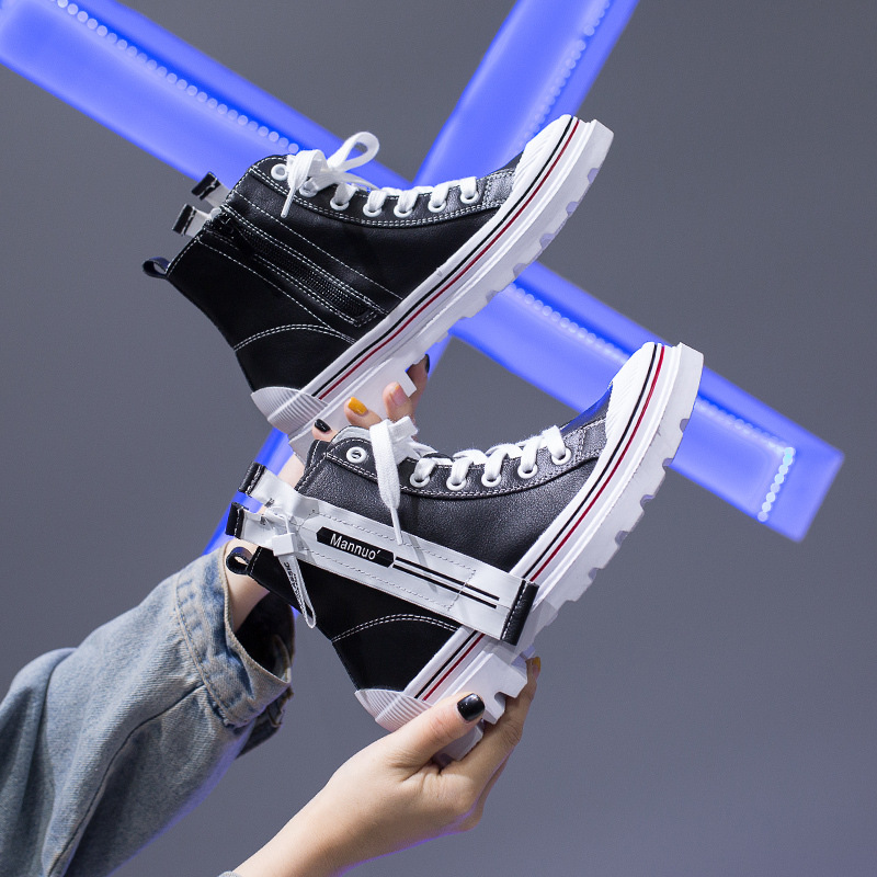 Retro Casual Shoes White 2019 New Style Korean-style Extra High Thick Bottomed Sports High Shoes Women's Trendy Shoes Students S