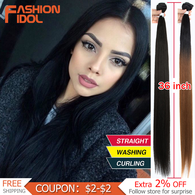 FASHION IDOL 36 inch Yaki Straight Hair Bundles 120G Ombre 613 Brown Synthetic Hair Weave Ponytail Hair Extensions Free Shipping