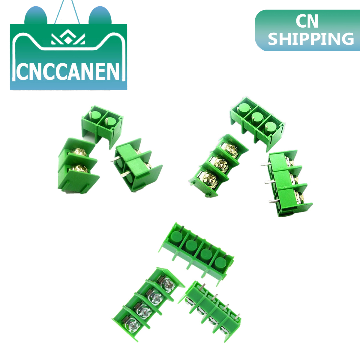 10PCS/lot KF7.62 - 2P 3P 4P MG7.62 - <font><b>2</b></font> 3 <font><b>4</b></font> <font><b>Pin</b></font> Can be spliced Screw Terminal Block Connector Green 7.62mm Pitch 300V 10A image