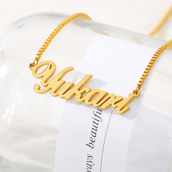 Custom Name Necklaces For Women Gold Stainless Steel Box Chain Personalized Cursive Letter Pendant Choker Necklace Jewelry Gifts korean real 24k gold necklace pendant for women gold jewelry lucky fish pendant chain necklace choker anniversary birthday gifts