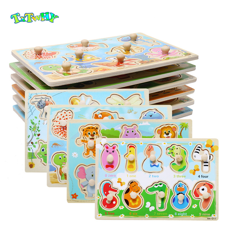 Baby Toys Montessori Wooden Puzzle Cartoon Vehicle Marine Animal Puzzle Toys For Mushroom Nail Early Educational Children Gift