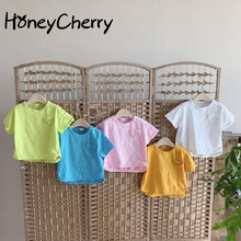 2020 summer T-shirt simple wild cotton candy-colored short-sleeved T-shirt toddler girl tops