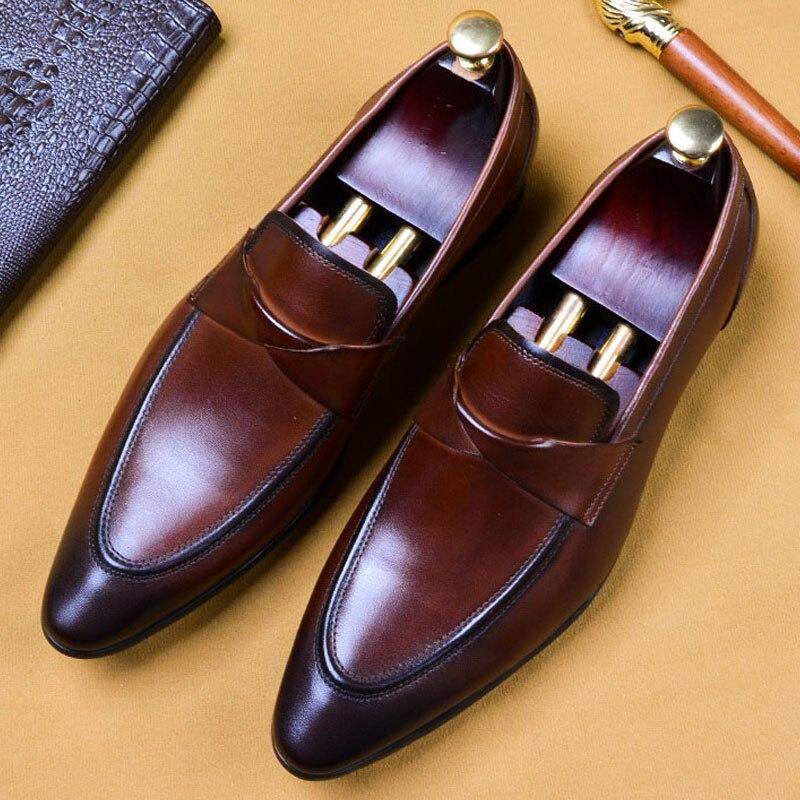 2019 Handmade Designer Slip-On Formal Shoes Fashion Casual Office Wedding Oxford Shoes Genuine Leather Men Loafer Dress Shoes