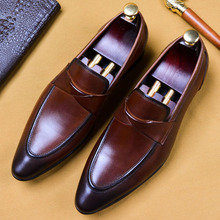 2019 Handmade Designer Slip On Formal Shoes Fashion Casual Office Wedding Oxford Shoes Genuine Leather Men Loafer Dress Shoes