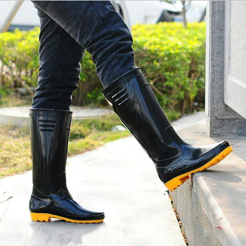 Adult Men's High-cylinder Water Shoe Acid-alkali-resistant Rain Boot Construction Site Skid-proof Wear-resistant Labor-protectiv