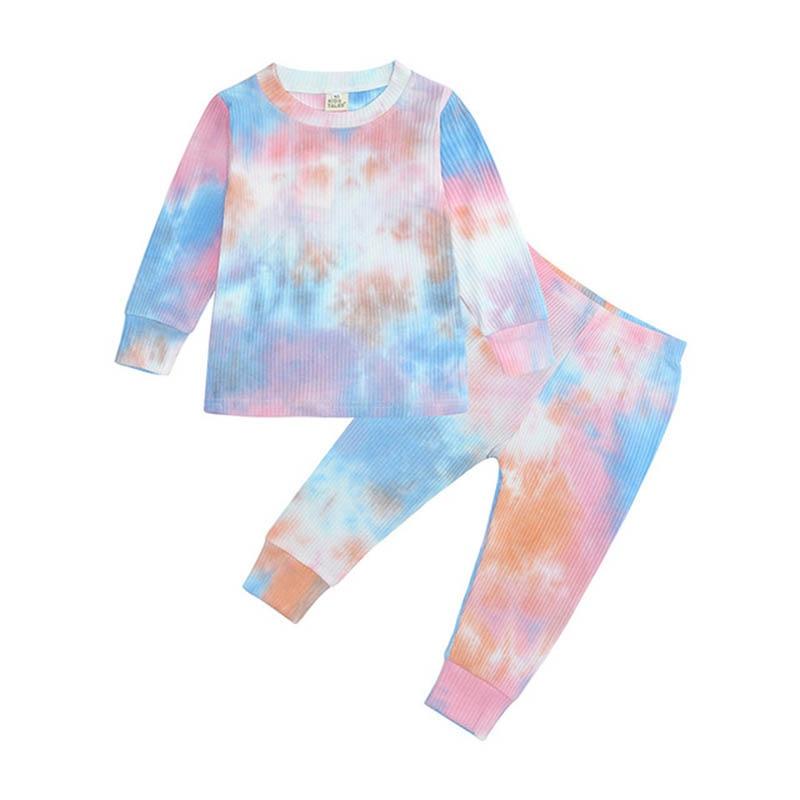 Boys Tie-Dye Suit Children Fashion New Casual Gradient Set Girls Dream Color Clothing Kids Spring Autumn Pajamas Home Wear 1