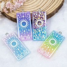 10pcs 39*19mm The Sun Tarot  Charms Flat back Resin Cabochons Glitter Accessory for  Necklace Pendant DIY