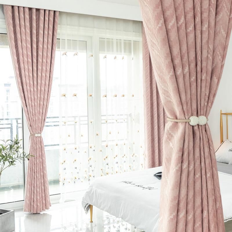 Cortinas modernas para sala de estar, para quarto, cortinas simples, rosa, cinza, verde escuro, quatro cores, opcional