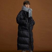 Новая зимняя длинная пуховая Парка женская s белая пуховая куртка большой размер зимняя теплая Толстая парка Свободное пальто зимняя женская куртка