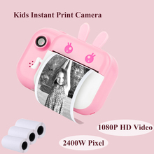 Kids Instant Print Camera Photo Printer 2.4inch IPS Screen Child Camcorder Camera Toy with Thermal Paper Children Best Gift