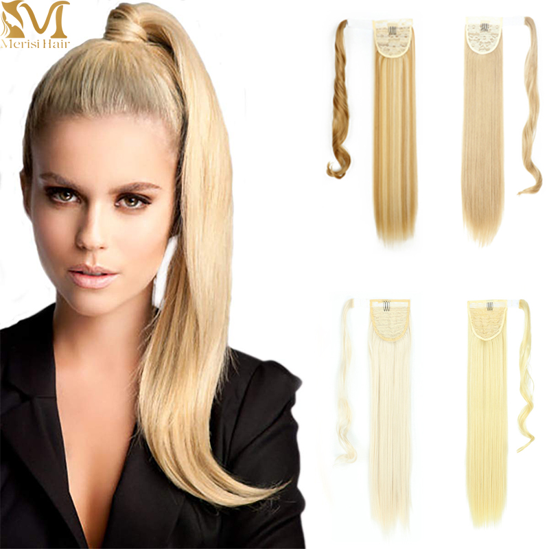 MERISIHAIR Long Straight Ponytail Synthetic Hairpiece Wrap on Clip Hair Extensions Ombre Brown Pony Tail Blonde Fack Hair