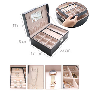 Cosmetic Storage Box With Lid PU Leather Material Jewelry Storage Box Double-layer Large-capacity Drawer Makeup Storage Box