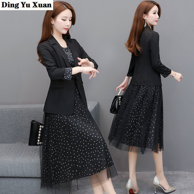 Office Lady Mid Calf Formal Dress Suit for Women Black 2 Piece Set Work Clothing Womens Blazer Jacket with Dresses 2020 New