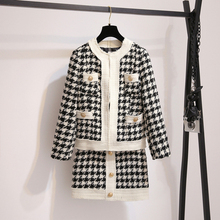 New 2019 Autumn Trend Jacquard Plaid Knit Two-piece Set Women Long Sleeve Metal Button Cardigan Coat+Mini A-Line Skirt Suit