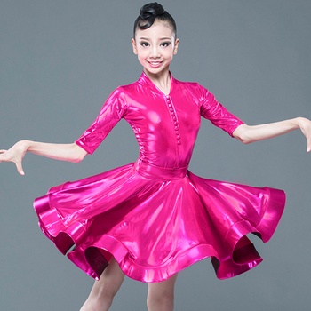 Latin Dance Dress Girls Rumba Cha Cha Samba Salsa Competition Dancing Costumes Mid-Sleeve Bodysuit Skirt Split Suit Kids DN5310