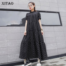XITAO Plus Size Dress Fashion New Dot Vintage Pleated Hem Goddess Fan Casual Sty