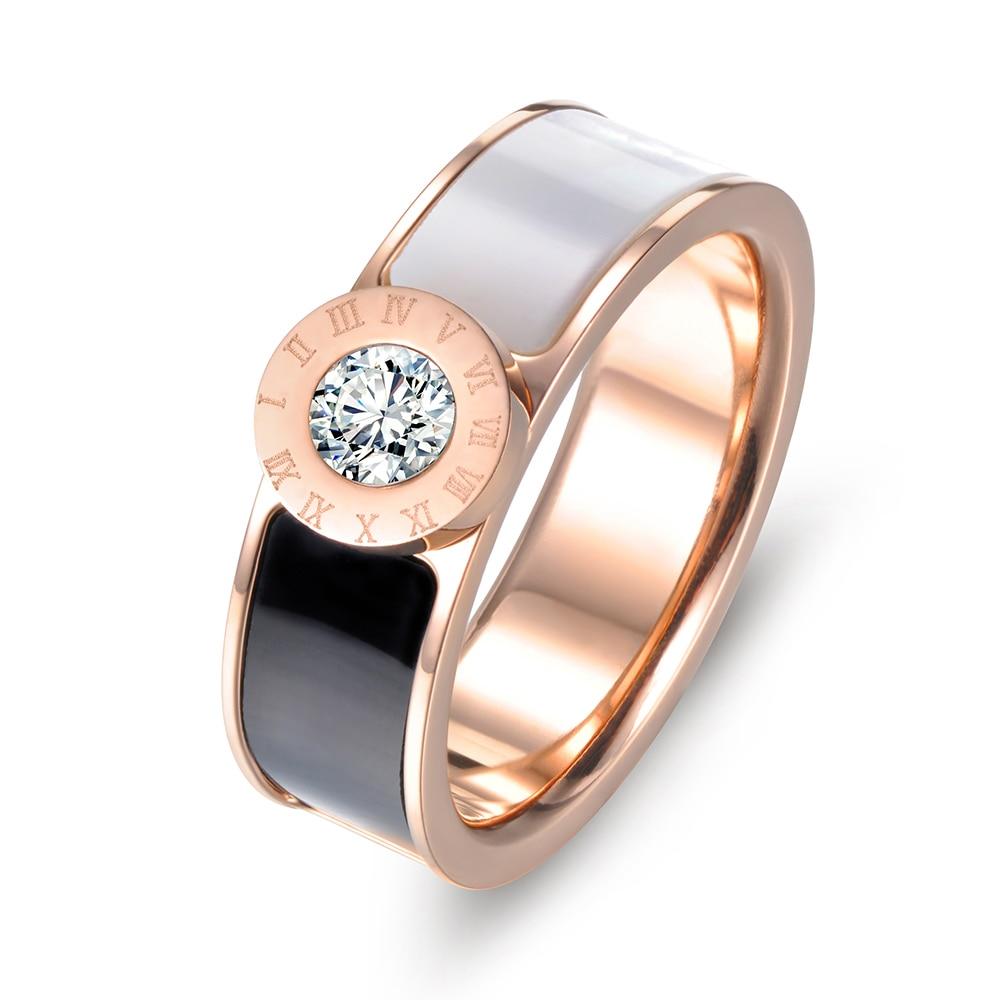 Lokaer Classic Stainless Steel Fine Brand Jewelry Acrylic & Shell Roman Alphabet Rings Bridal Wedding Engagement Ring R17033