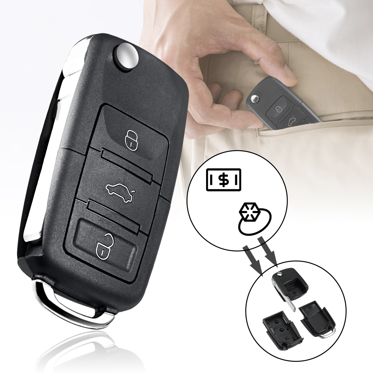 Container Key-Case Storage Safe-Compartment Hollow-Stash-Tool Secret Hide Car-Key Portable title=