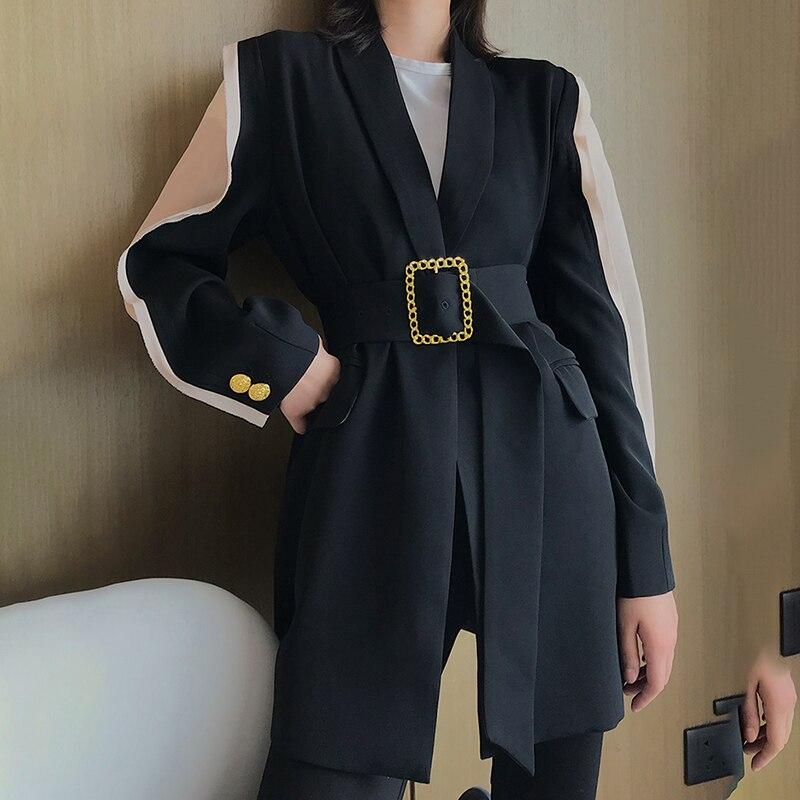 TWOTWINSTYLE elegante chaqueta de mujer cuello en V éxito de Color de retazos de manga túnica de encaje de otoño chaquetas largas de moda femenina 2019-in chaqueta de deporte from Ropa de mujer    3