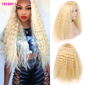 Middle Part 613 Blonde Lace Front Wig Brazilian Deep Wave Pre Plucked With Baby Hair 13x1 Lace Part Human Hair Wig Remy Lace Wig(China)