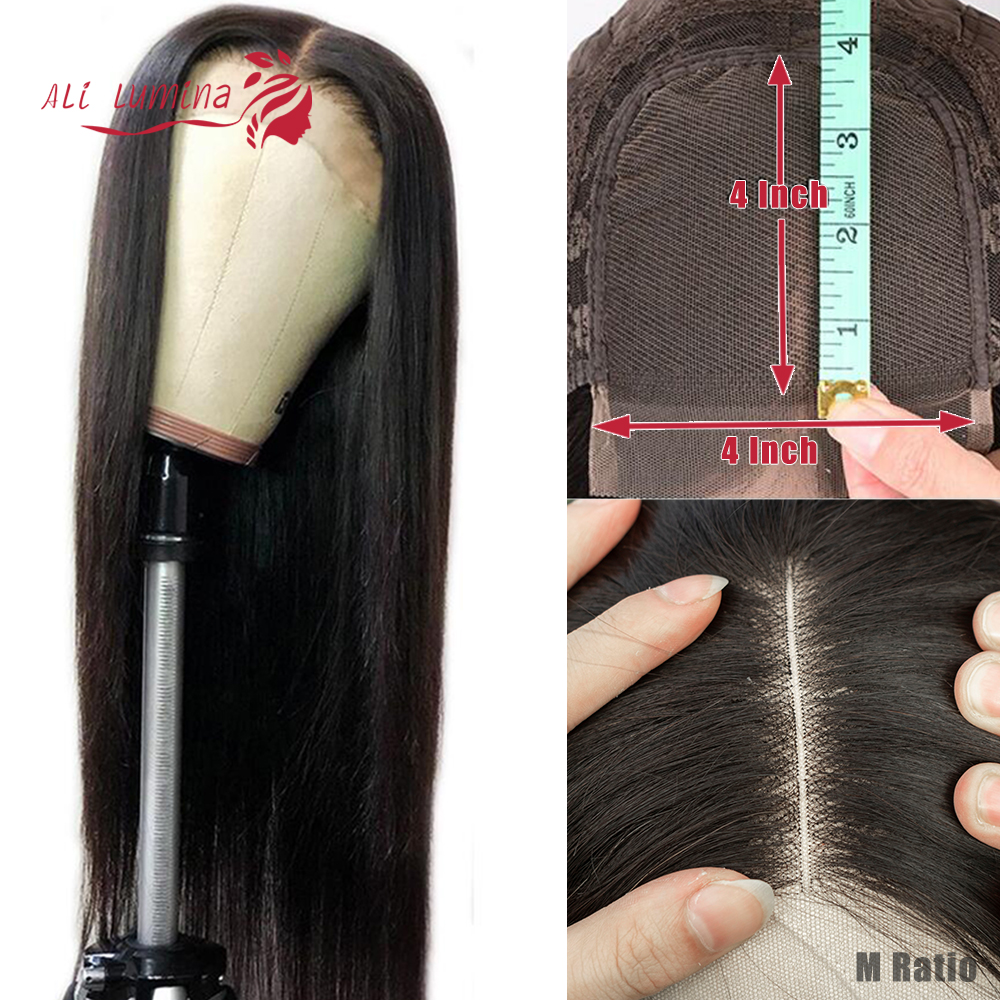 Ali Lumina Human Hair Wig 4X4 Lace Closure Wig Brazilian Hair Wigs Remy Straight Hair Wig Density 180% 10-30 Inches
