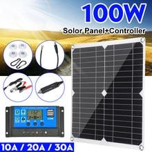 Panel Solar Dual de 100w y 12v/5v con USB, controlador de 30A, células solares a prueba de agua, células solares policristalinas para coche, yate, RV, cargador de batería
