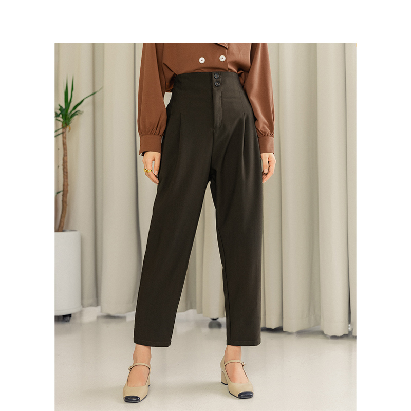 INMAN 2020 New Arrival Literary Retro Style High Waist Loose Style Carrot Women Office Wear Women Causal Pant