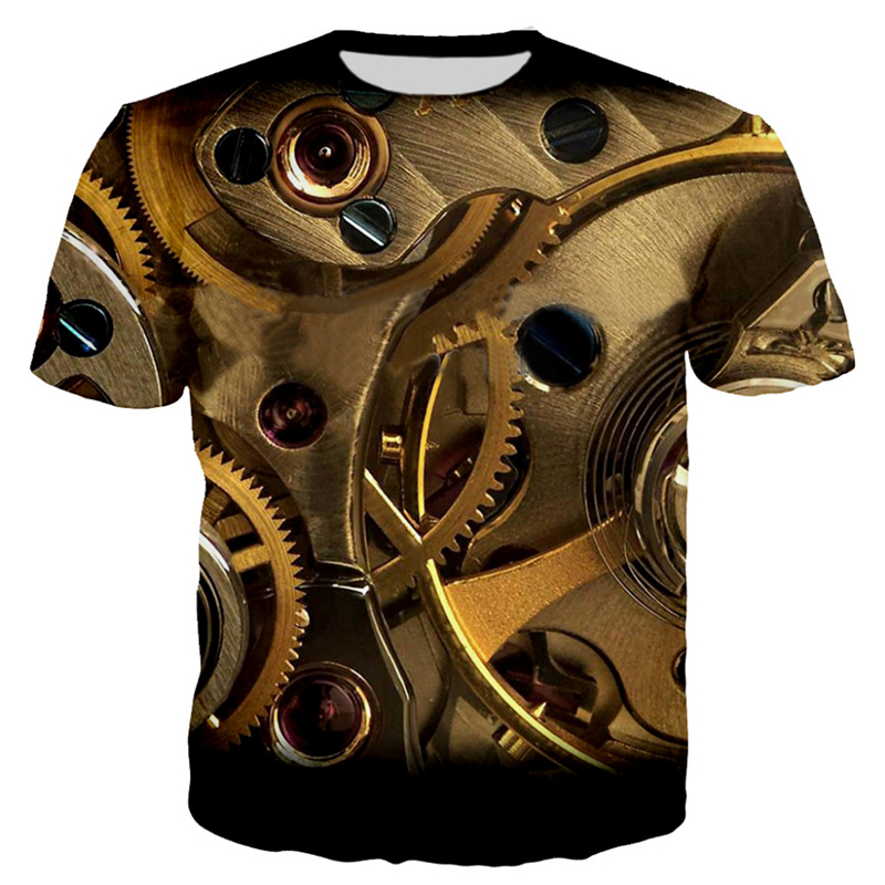3D Motorcycle T-shirt Punk Clothing Retro Clothes Mechanical Tshirt Tops Tees Men Summer Funny Print T-shirt Mens Tee Plus Size 2