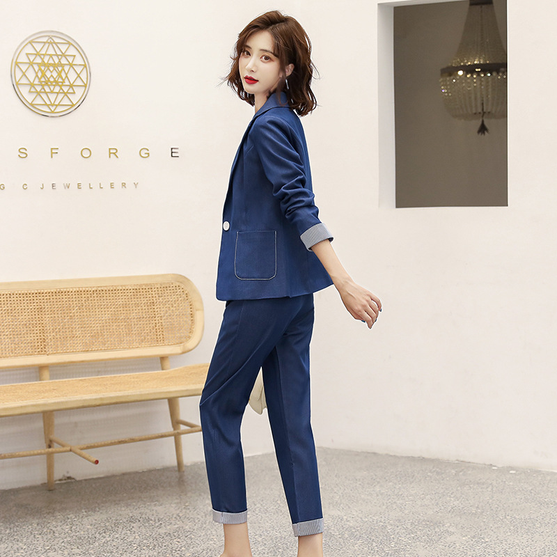 Women's suit 2019 autumn new casual fashion temperament Slim solid color single buckle small suit trousers two-piece 26