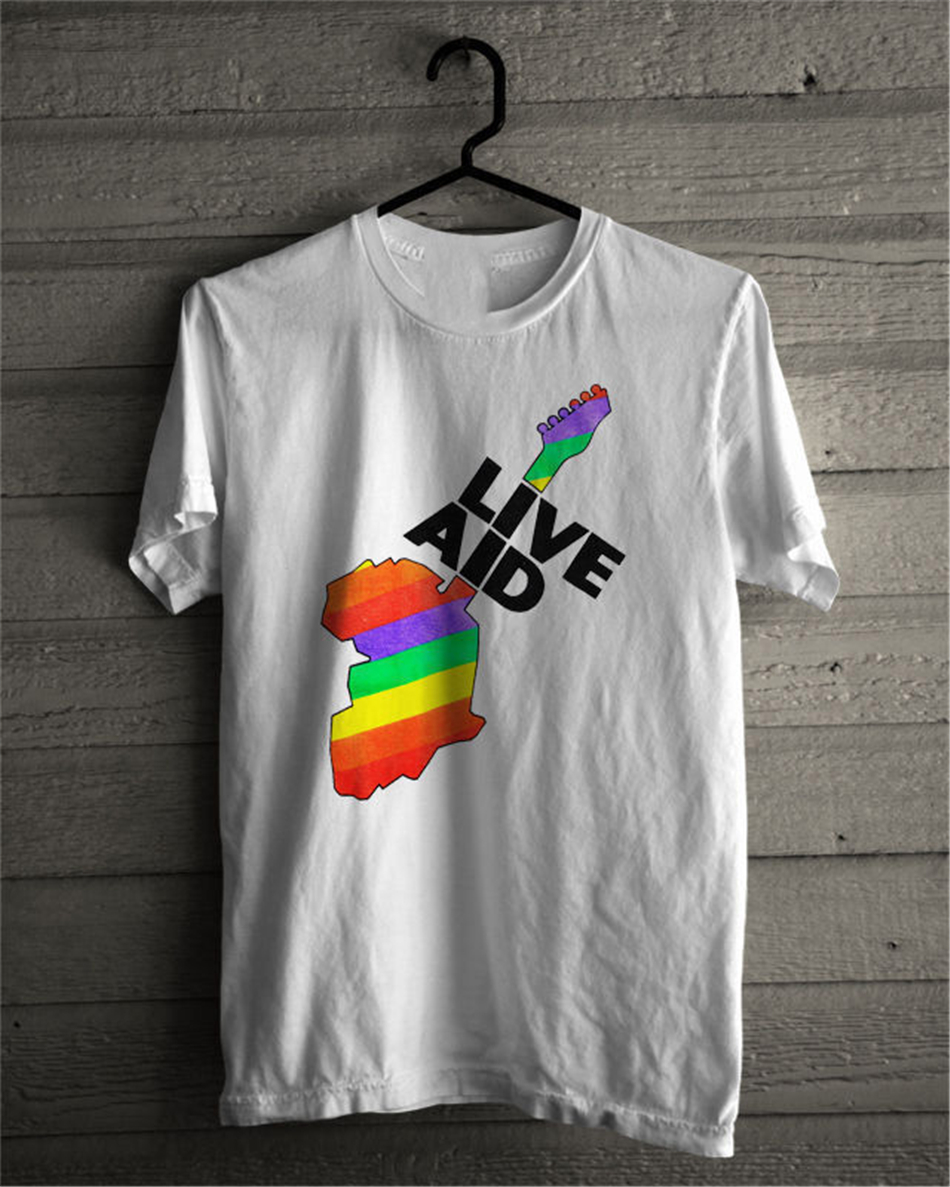 Live Aid Band July 1985 Festival Elton John  David Bowie T-Shirt