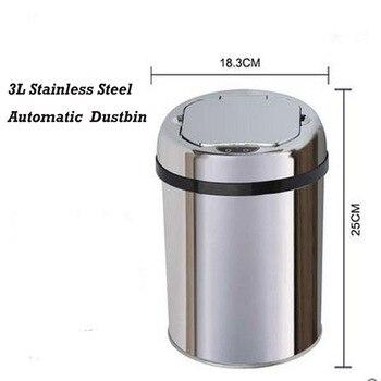 3 Liter Sensor Stainless Steel Dustbin Automatic Garbage Trash Can Waste bin  Ash-bin Round Shape