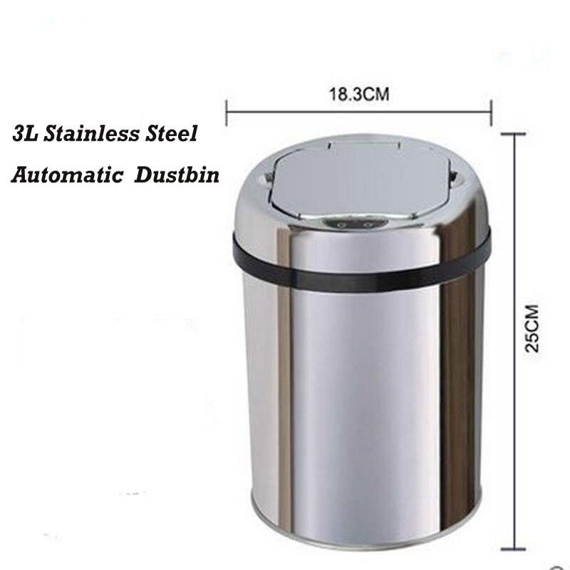 Ev ve Bahçe'ten Atık Kovaları'de 3 litre Sensörü paslanmaz çelik çöp kutusu Otomatik Çöp çöp tenekesi çöp kutusu Kül kutusu Yuvarlak Şekli'da  Grup 1