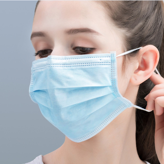 3 Layer Safely Soft Earloop Anti Flu Surgical Face Mouth Mask Non-Woven Anti-Dust Adult Disposable Medical Face Masks 100Pcs 3