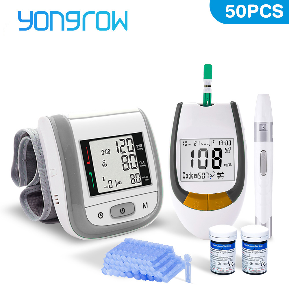 Yongrow Blood Glucose Meter With 50PCS Test Strips&Lancets And Medical Digital Automatic Wrist Blood Pressure Monitor
