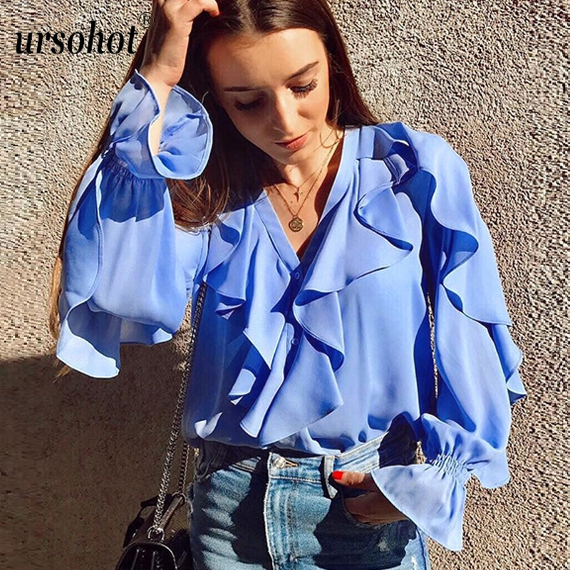 Ursohot Summer Ruffle Sexy   Shirt   Women V Neck Office   Blouse   Button Cardigan Chiffon   Blouses   Casual Puff Sleeve Tops Smock   Shirts