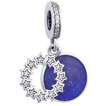 100% 100% реальные 92 5 бусин вдохновляющие звезды и синяя Эмаль Подвески подходят для оригинальных 3 мм браслетов женские ювелирные изделия «сде...