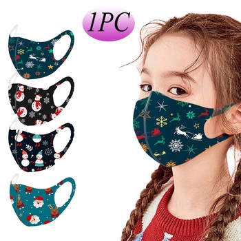 1PC Children's Christmas Print Outdoor Sports Party Face Mask Reusable Breathable Multi-Purpose Face