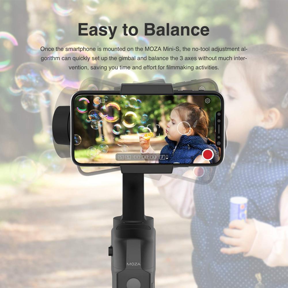 Image 4 - MOZA MINI S 3 Axis Foldable Pocket Sized Handheld Gimbal  Stabilizer MINI S for iPhone X 11 Smartphone GoPro VS MINI MI VIMBLE  2Handheld Gimbal