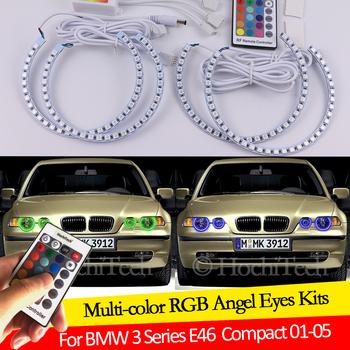 Dla BMW serii 3 E46 Compact 2001 2002 2003 2004 2005 16 kolorów RGB Angel Eyes LED Halo Rings RF sterowanie bezprzewodowe DRL tanie i dobre opinie HochiTech CN (pochodzenie) Do światła dziennego RGB Ange Eyes 12 v For BMW 3 Series E46 Compact 2001 2002 2003 2004 2005