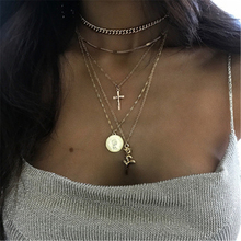 Women's Bohemian Layered Rose Cross Pendant Necklace Necklace Gold Engraving Portrait Coin Long Chain Necklace Gift collares coin layered bolo necklace
