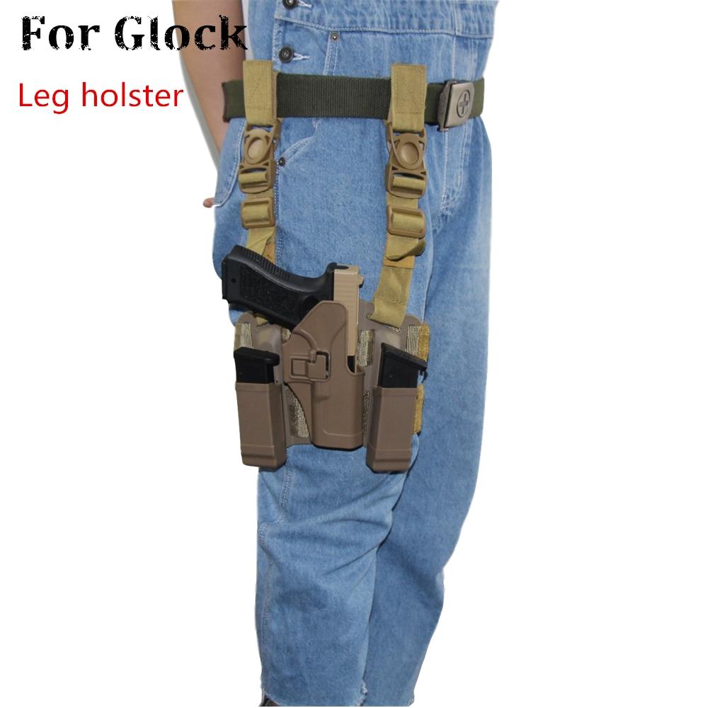Holsters com Compartimento Glock 31 Coxa Perna Pistola Coldre Militar Airsoft Arma Bolsa Tático Caça Acessórios Cqc 17 19 30