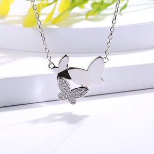 Image 4 - SG chain necklace women jewelry 925 sterling silver 3 butterfly necklaces with cz Fashion Party jewelry 2019 NEW arrive